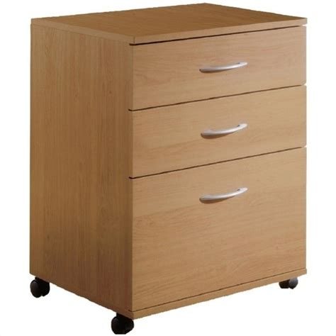 Nexera Mobile 3 Drawer Lateral Mobile Wood Natural Maple Three Drawer Lateral File Cabinet