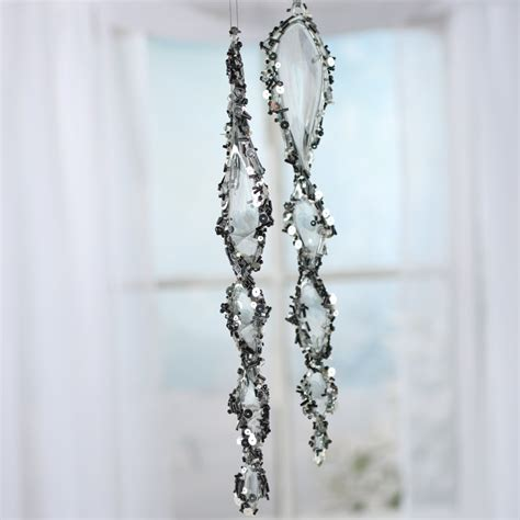 large beaded smoky acrylic icicle ornaments on sale
