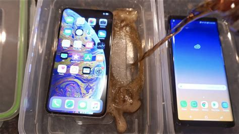 iphone xs max vs samsung galaxy note 9 pepsi freeze test what s gonna happen