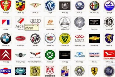 foreign sports car logos car brand logos and names list