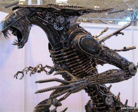 life size scrap metal 'alien' replica, metal art from