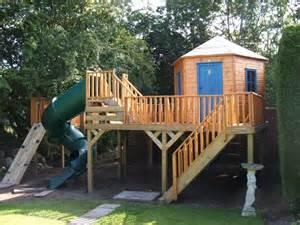 Plastic Slide For Treehouse - raised hexagonal treehouse treehouses the playhouse company