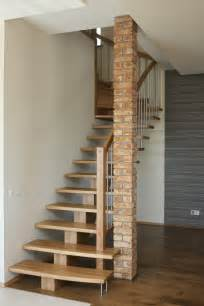 Simple Stairs Design For Small House Trendy Oak Woden Steps As Simple Modern Stairs Also Brick Interior Column On Woodeen Floors As