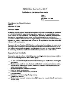 Irs Certification Letter self certification of late rollover contribution with irs model letter