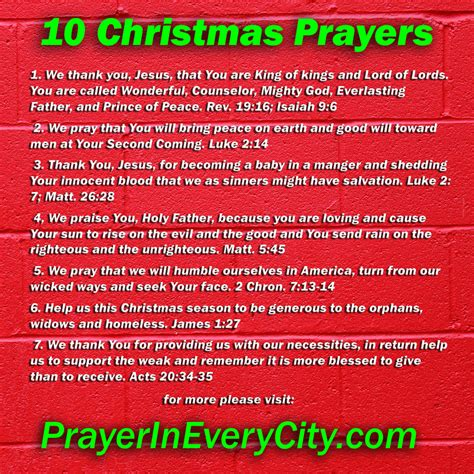 christmas invocation prayer 10 prayers prayer in every city