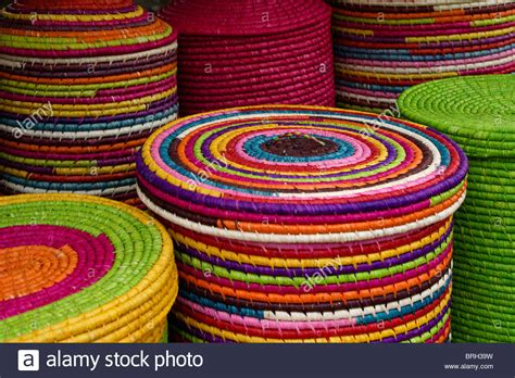 colorful baskets colorful raffia baskets for sale madagascar stock photo
