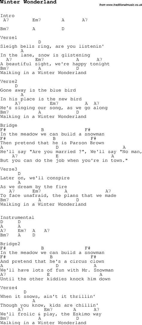 printable lyrics for walking in a winter wonderland wonderland sng aly brenda rob op winter wonderland with