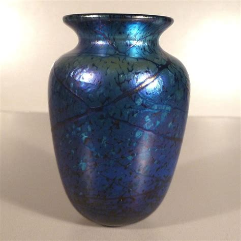 Iridescent Vase by Iridescent Blue Elaine Hyde Glass Vase From