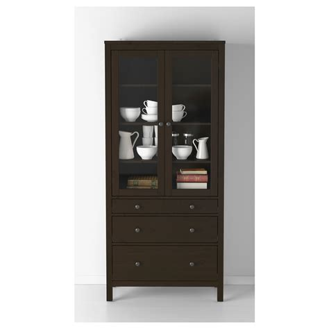 hemnes glass door cabinet hemnes glass door cabinet with 3 drawers black brown