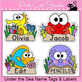 printable under the sea name tags labels under the sea ocean animals editable name tags