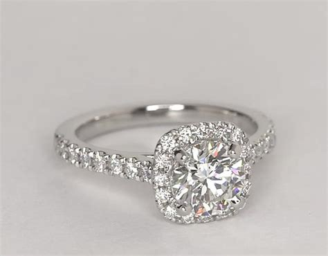 cushion cut halo engagement ring in platinum cushion halo engagement ring in platinum 1 3 ct