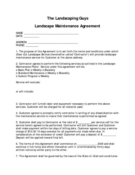 Landscaping Contract Template by Marvelous Landscape Contract 9 Landscape Maintenance Contract Template Newsonair Org