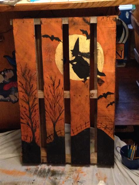 witch pallet halloween wood crafts halloween projects