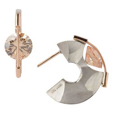 9mm tension set earrings with chagne tomasz plodowski