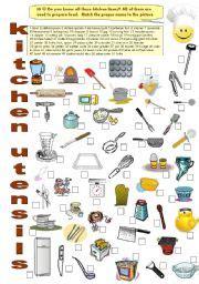 Kitchen Utensils Worksheet Pdf by Kitchen Utensils Equipment Worksheets
