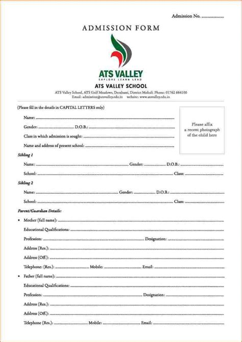 Admission Application by Admission Form Format Pdf Business Templated Business Templated