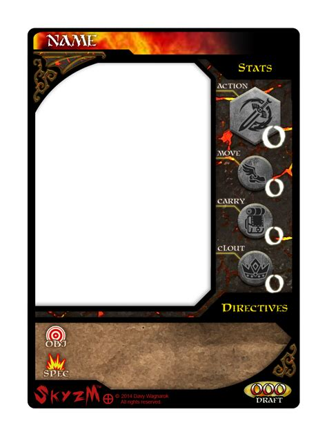 card gaming template skyzm hoe card template front by davywagnarok on