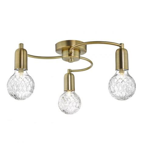 Wrexham 3 Light Antique Brass Semi Flush Ceiling Light Flush Ceiling Lights Brass