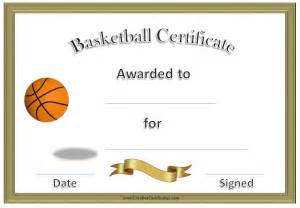 basketball certificate with gold border and picture templates free besttemplate