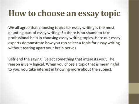 Choosing An Essay Topic ppt essay topics for essay writing powerpoint presentation id 7443719