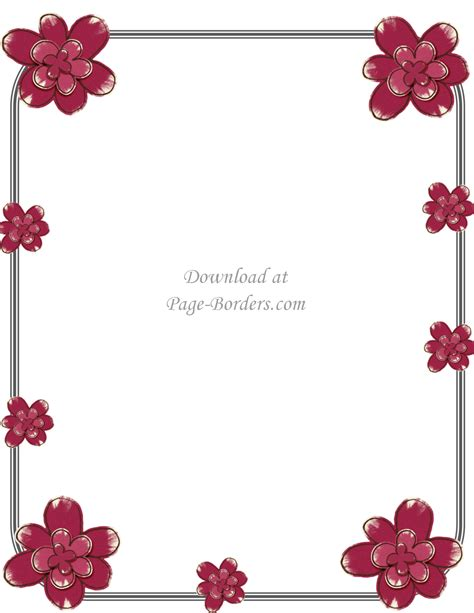 Free Flower Border Template Flowers A4 Page Borders