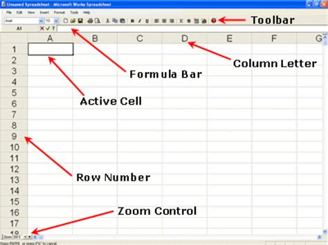 Parts Of An Excel Spreadsheet by Microsoft Works Spreadsheet Screen Microsoft Works