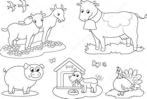 clipart da colorare animali della fattoria da colorare 2 vettoriali stock