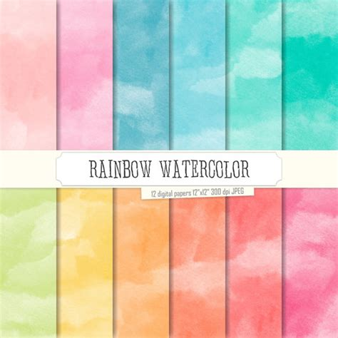 watercolor pattern photoshop free buy 2 get 1 free digital paper rainbow watercolor green