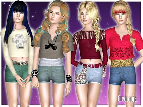 sims 3 teen beach movie outfits cleotopia s teen girls party casual set