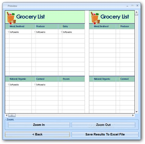 grocery list excel template excel grocery list template software