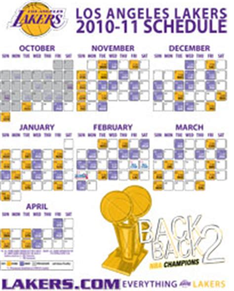 l a lakers 2010 11 schedule breakdown the official site