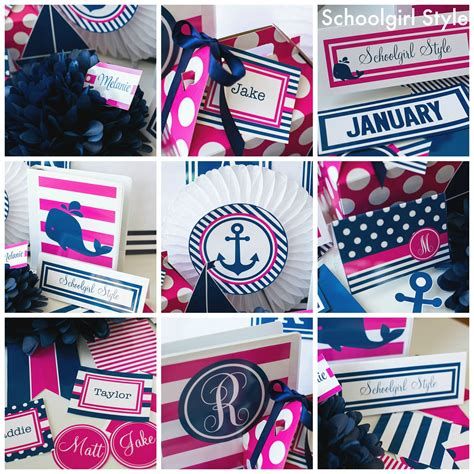 nautical classroom decorations pink navy preppy monogram nautical classroom theme decor