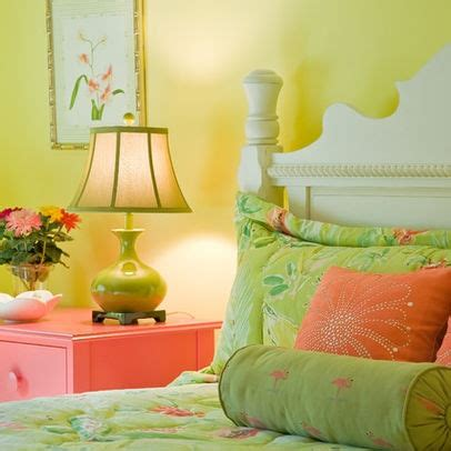 pistachio green and coral guest bedroom home ideas