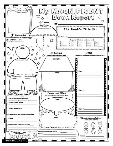 printable book report forms for 4th grade character