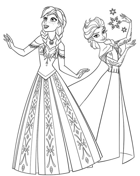 elsa and anna coloring book pages free printable coloring pages elsa and anna 2015