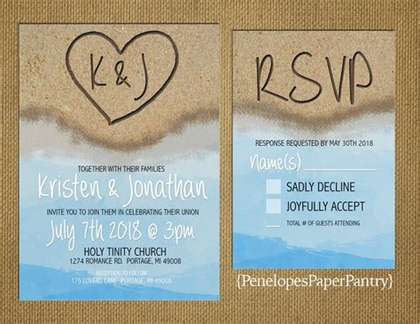 Water Themed Wedding Invitations by Destination Wedding Invitation In The Sand