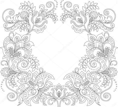 cornice floreale cornice floreale in stile zentangle motivi decorativi