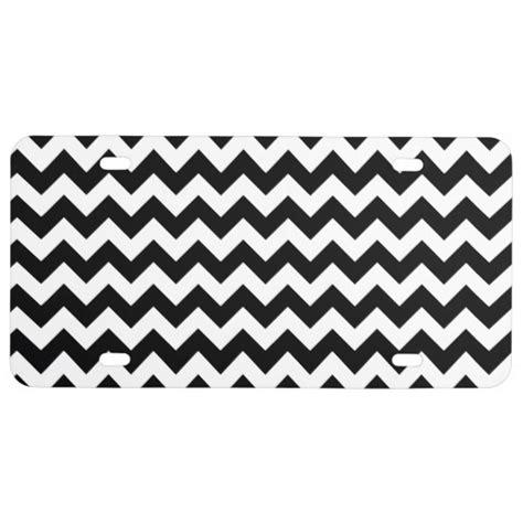 black and white pattern plates black and white zigzag chevron pattern license plate zazzle