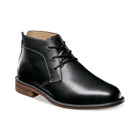 florsheim doon leather chukka boots in black for