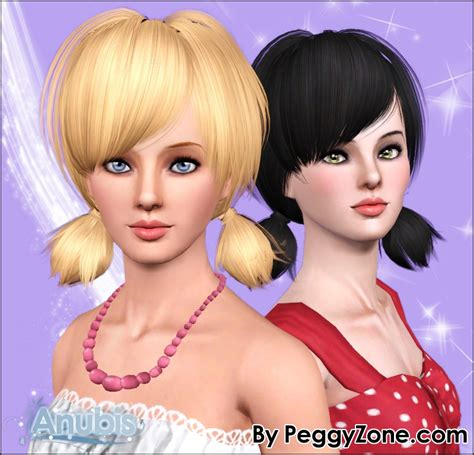 sims 3 pigtails with bangs two small pigtail hairstyle peggy s 532 retextured by