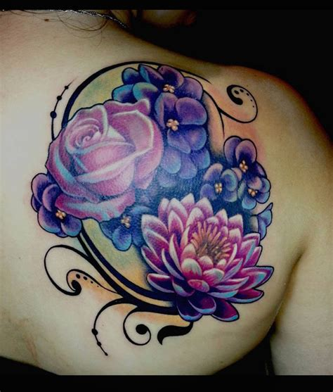 family tattoo cover up ideas purple flower shoulder tattoo www imgkid com the image
