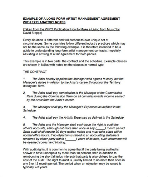 10 Artist Management Contract Templates To Download For Free Sle Templates Artist Management Plan Template