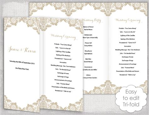 Lace Wedding Program Template Antique Lace Diy Templates For Wedding Programs