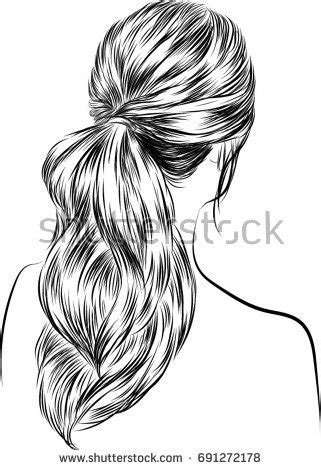 handdrawn beauty woman luxurious long ponytail stock