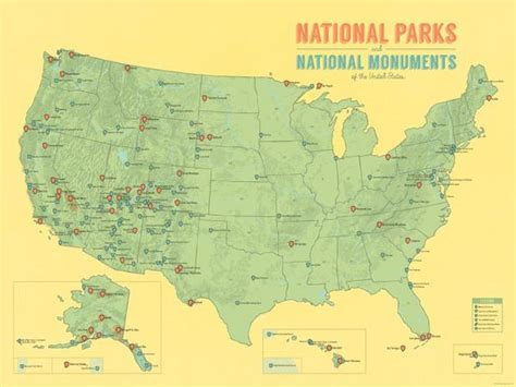map us national parks monuments us national parks national monuments map 18x24 poster