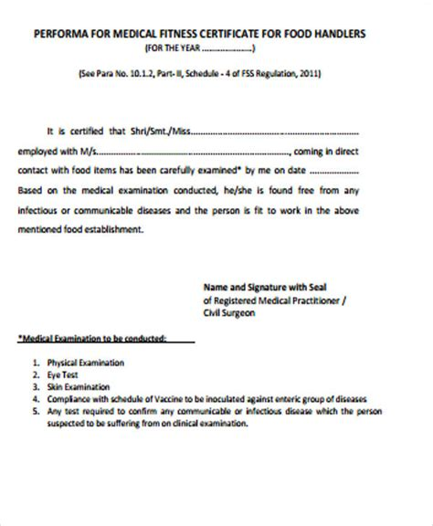 sample application for issuance of medical fitness certificate for