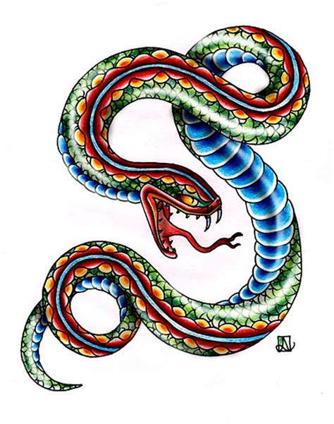 old school snake tattoo designs multicolor school snake design tattooimages biz