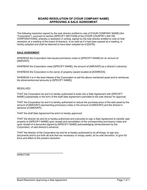 resolution template for board of directors board resolution approving sale agreement sole director