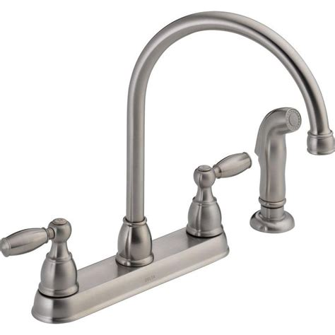 delta foundations 2 handle standard kitchen faucet with side sprayer in chrome 21988lf the 90 best shopping images on pinterest kitchen remodeling
