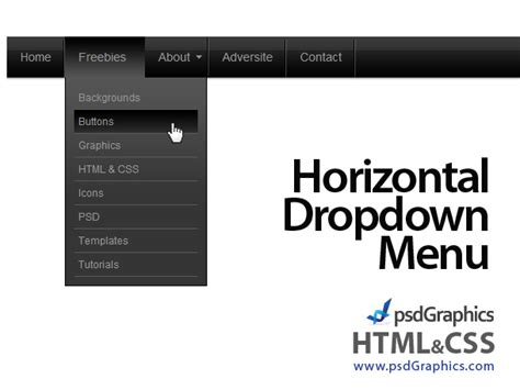 template drop menu black horizontal html and css dropdown menu psdgraphics